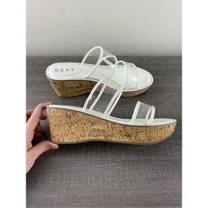 DKNY Cork Wedge White Sandals Shoes Clear Straps